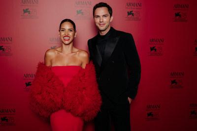 Adria Arjona and Nicholas Hoult at the Armani beauty dinner